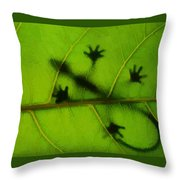 Gecko On A Leaf Throw Pillow