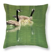 Geese And Babies Throw Pillow