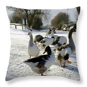 Geese At The Frozen Horninglow Basin Throw Pillow