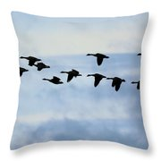 Geese Flying South Throw Pillow