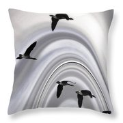 Geese In A Halo Throw Pillow
