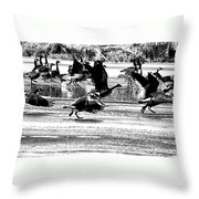 Geese On Ice Taking Flight Throw Pillow
