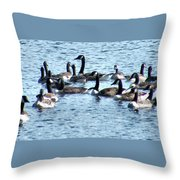 Geese On Lake Nockamixon Throw Pillow