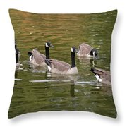 Geese On Pond Throw Pillow