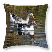 Geese On The Canal   Throw Pillow