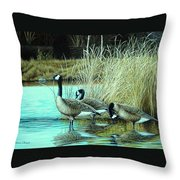 Geese On Watch Throw Pillow