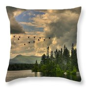 Geese Over Jericho Lake Throw Pillow