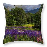 Geese Over Lupine Field Throw Pillow