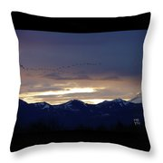 Geese Over The Cascades Throw Pillow
