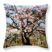 Geese Under Flowering Tree Throw Pillow