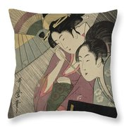 Geisha And Attendant On A Rainy Night Throw Pillow