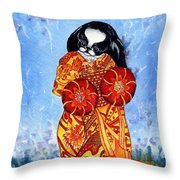Geisha Chin Throw Pillow by Kathleen Sepulveda