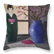 Geisha Doll Throw Pillow