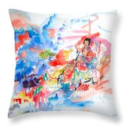 Geisha On Mountain Top Throw Pillow
