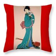 Geisha With Guitar Throw Pillow