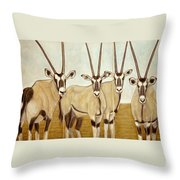 Gemsboks Or 0ryxs Triptych Throw Pillow