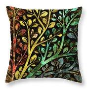 Gemstone Tree With Golden Decor Throw Pillow