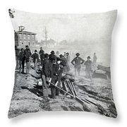 Gen Shermans Troops Destroying Railroad Before The Evacuation Of Atlanta - C 1864 Throw Pillow