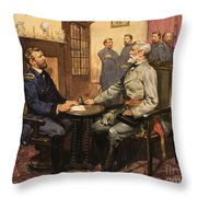General Grant Meets Robert E Lee  Throw Pillow by English School