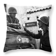 General Patton In Sicily Throw Pillow by War Is Hell Store