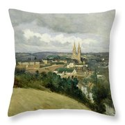 General View Of The Town Of Saint Lo Throw Pillow by Jean Corot