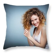 Geniue Portrait Of A Young Positive, Smiling Girl. Throw Pillow