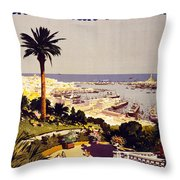 Genoa And The Italian Rivera Vintage Poster Restored Throw Pillow