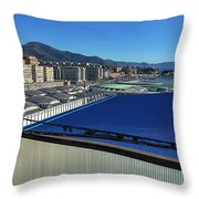 Genova Town Landscape From Abandoned Office Building Roof Throw Pillow
