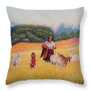 Gentle Shepherdess Throw Pillow