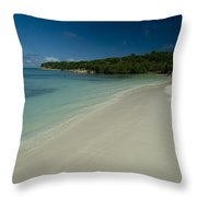 Gentle Surf Rolling Onto A Caribbean Throw Pillow