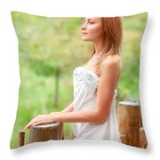 Gentle Woman On Terrace Throw Pillow