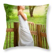 Gentle Woman Standing On The Porch  Throw Pillow