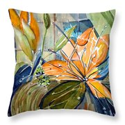 Geo Day Lilies Throw Pillow