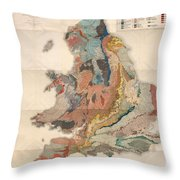 Geological Map Of England And Wales - Historical Relief Map - Antique Map - Historical Atlas Throw Pillow