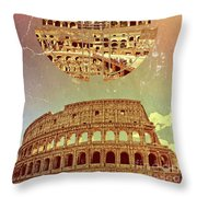 Geometric Colosseum Rome Italy Historical Monument Throw Pillow