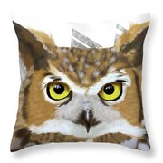 Geometric Great Horned Owl Throw Pillow