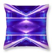 Geometric Street Night Light Pink Purple Neon Edition  Throw Pillow