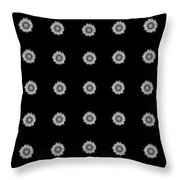 Geometric Sunflowers Black White Throw Pillow
