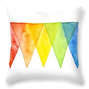 Geometric Watercolor Pattern Rainbow Triangles Throw Pillow