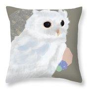 Geometric White Owl Throw Pillow