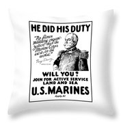 George Dewey - Us Marines Recruiting Throw Pillow