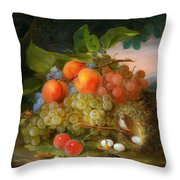 George Forster  Still Life With Fruit And A Birds Nest Throw Pillow