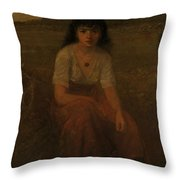 George Fuller   Farmer Girl Throw Pillow