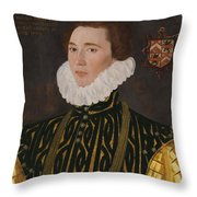 George Gower Portrait Of Thomas Slingsby 1556  1579 1577 Throw Pillow
