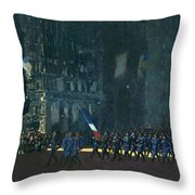 George Luks   Blue Devils On Fifth Avenue   1918 Throw Pillow