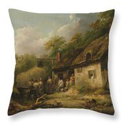 George Morland  The Bell Inn Throw Pillow
