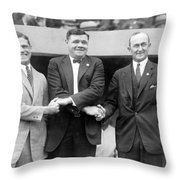George Sisler - Babe Ruth And Ty Cobb - Baseball Legends Throw Pillow by International  Images