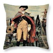 George Washington At Dorchester Heights Throw Pillow by Emanuel Gottlieb Leutze