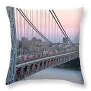 George Washington Bridge And Lighthouse I Throw Pillow