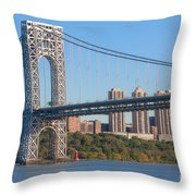 George Washington Bridge And Lighthouse II Throw Pillow